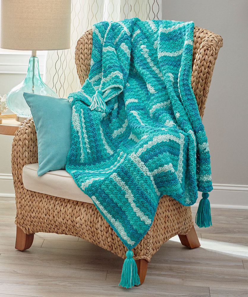 Wavy Squares Throw Free Crochet Pattern