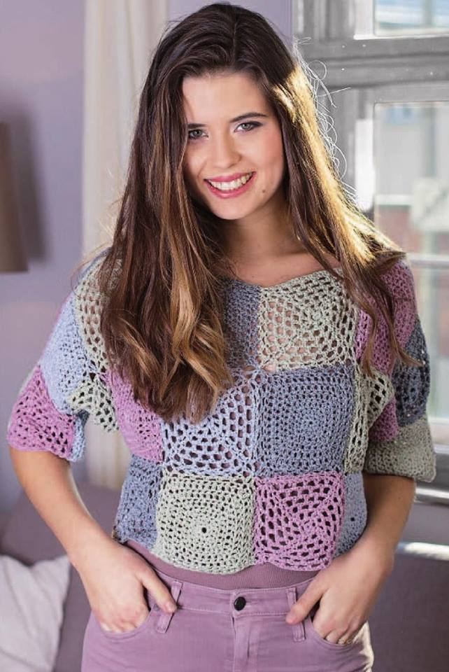 Cute Cropped Granny Square Crochet Top