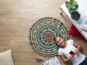 Pure Wool 8ply Mandala Rug free crochet pattern