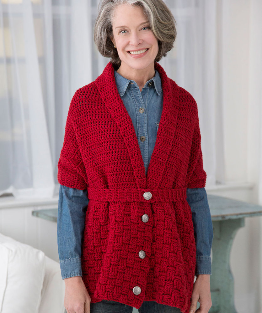 Red Heart Cares Vintage Crochet Sweater Free Pattern