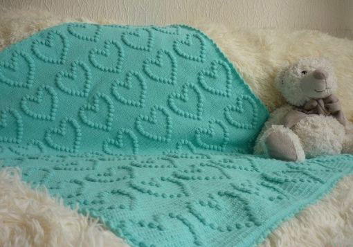 Crochet Bobble Heart Blanket