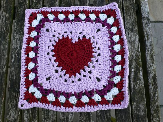 Center Heart Square 12 Inch Crochet Free Pattern