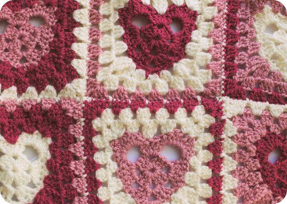 Heart granny square crochet blanket Pattern