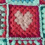 the granny square with heart crochet pattern free