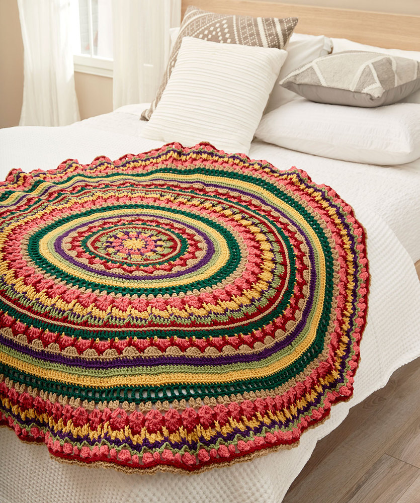Circular Fall Mandala Throw Free Crochet Pattern ⋆ Crochet Kingdom