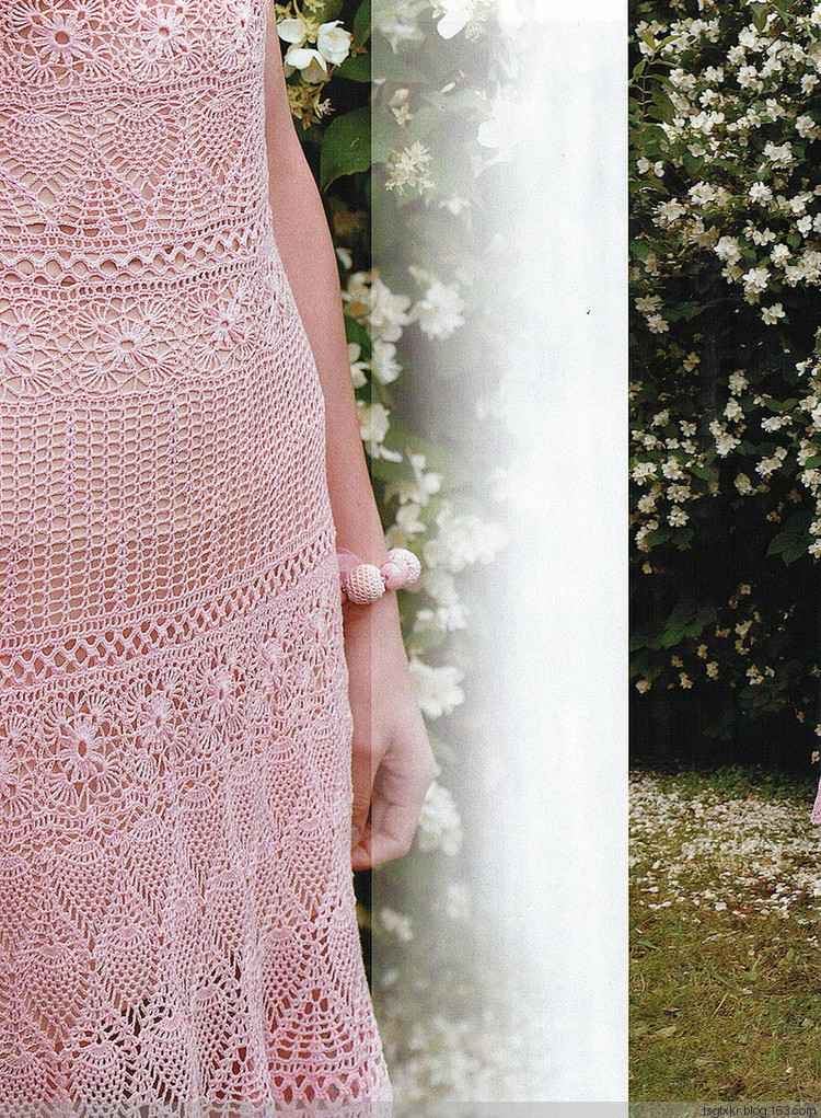 Long Pink Lace Crochet Dress and Shrug Pattern