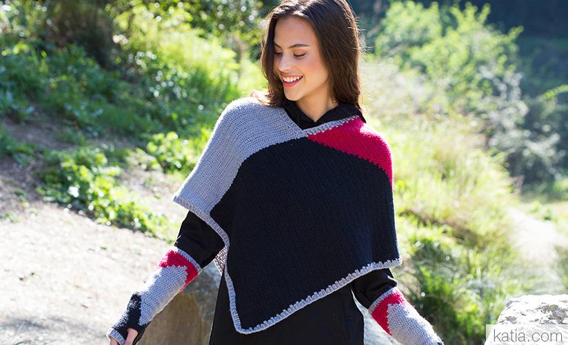 Modern Women's Poncho Free Crochet Pattern