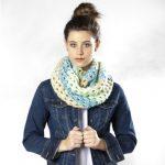 Lunar Tides Diagonal Stripe Cowl Free Crochet Pattern