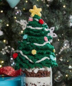 Christmas Tree Jar Topper Free Crochet Pattern