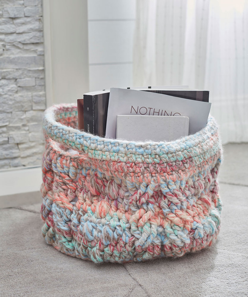 Cabled Basket Free Crochet Pattern