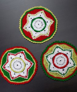 Party Doily Coasters Free Christmas Crochet Pattern