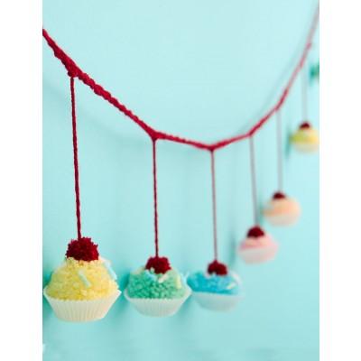 Pompom Cupcake Garland Free Crochet Pattern