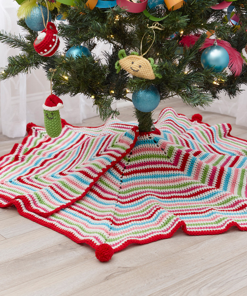 Pompom Trimmed Tree Skirt Free Crochet Pattern For Christmas