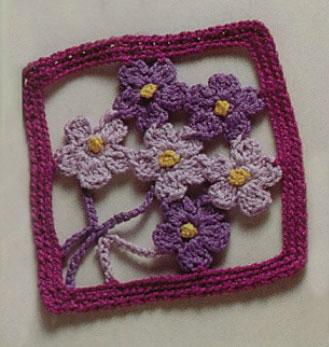 Purple Flowers Free Crochet Square Pattern