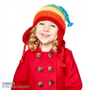Rainbow Crochet Hat with Earflaps Free Pattern