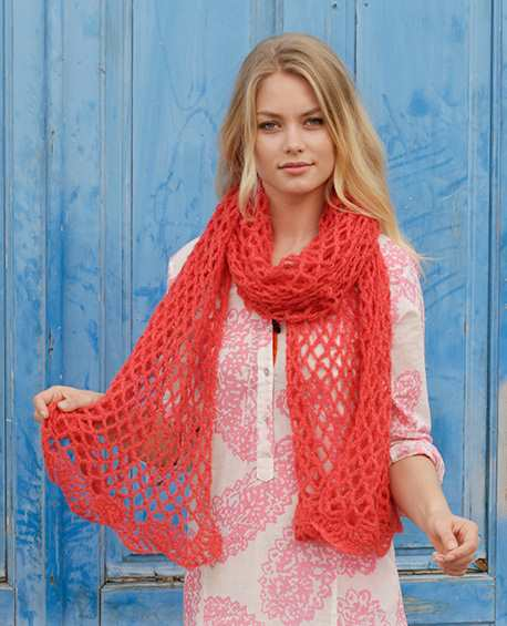 Fire Rose Lace Crochet Scarf Free Pattern