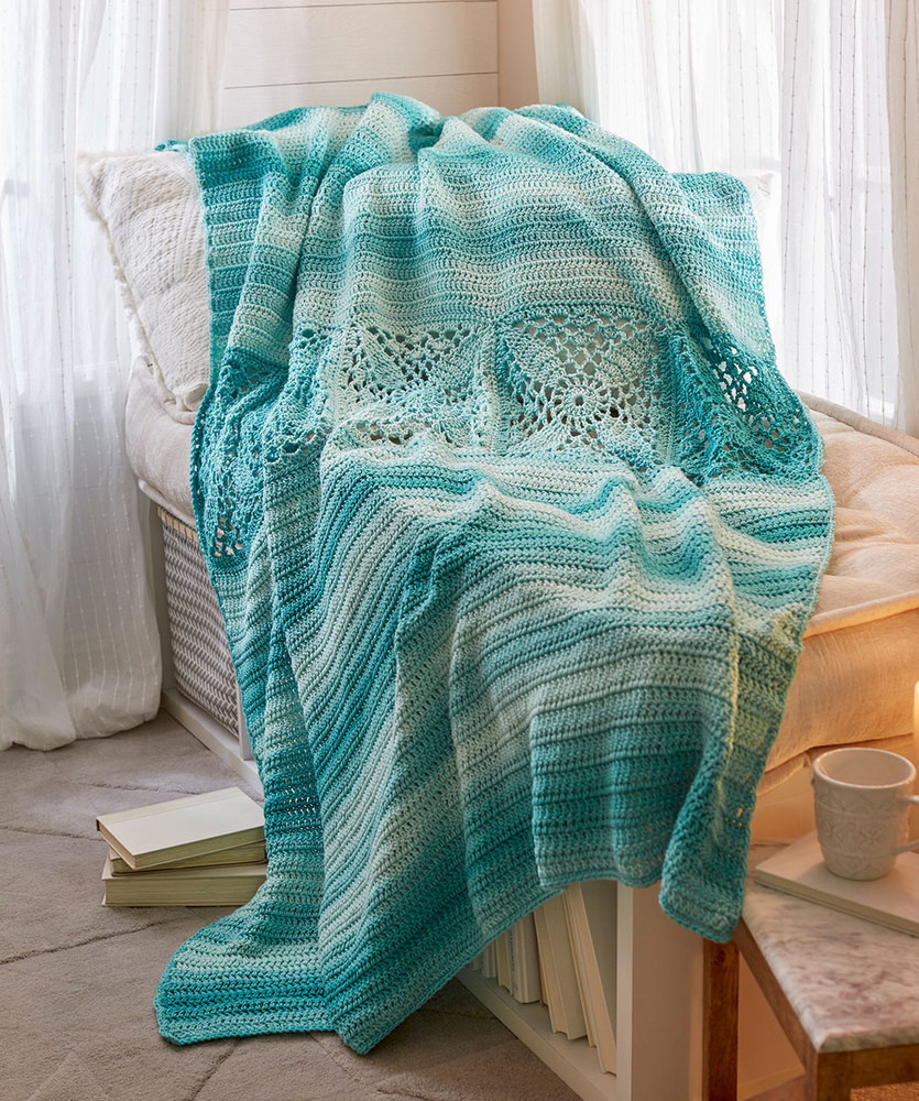 Pretty Squares In A Row Bed Throw Free Crochet Pattern