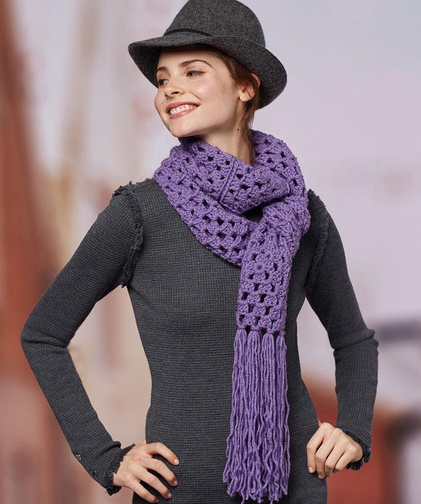 Easy Granny Square Scarf Free Crochet Pattern