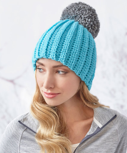 Easy-Fit Ribbed Pompom Hat Free Pattern
