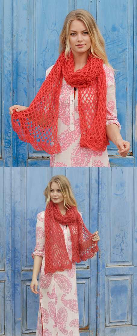 Fire Rose Lace Crochet Scarf Free Pattern ⋆ Crochet Kingdom