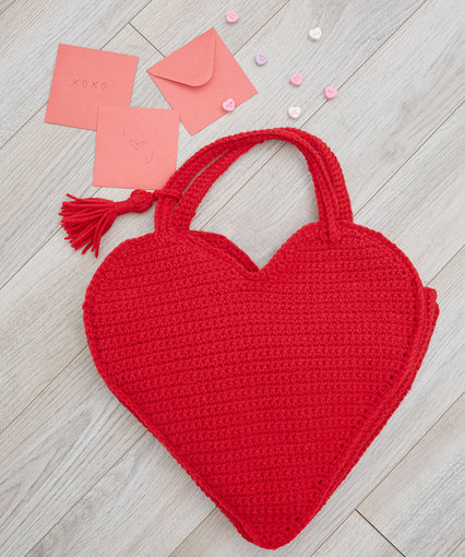 Heart Tote Bag Free Crochet Pattern