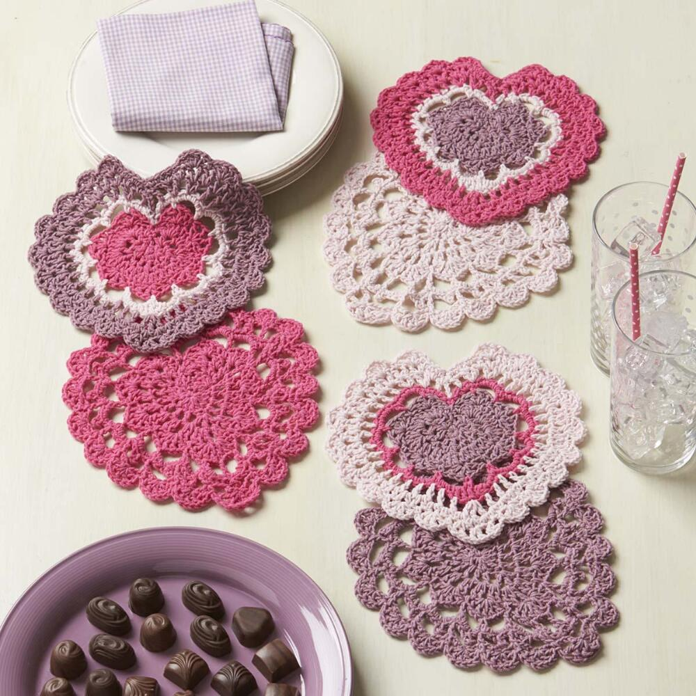Lovely Lace Heart Doilies Free Crochet Pattern