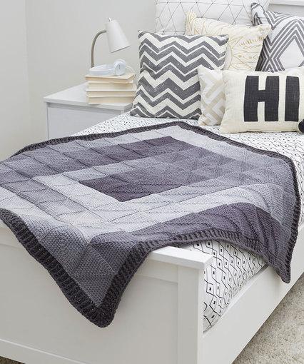 Modern Squares Throw Free Knitting Pattern