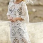 Morocco Dream Free Crochet Dress Pattern. Crochet Summer dress pattern with lace square pattern and fringes.