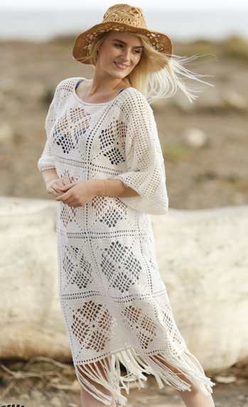 Morocco Dream Free Crochet Dress Pattern. Crochet Summer dress pattern with lace square pattern and fringes.