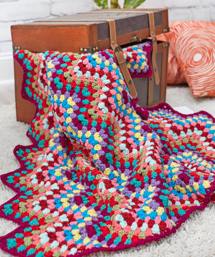 Throw-back Granny Chevron Free Crochet Blanket Pattern
