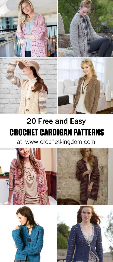 20 Free and Easy Crochet Cardigan Patterns for Women
