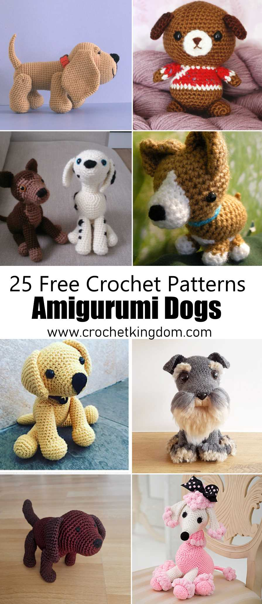 Crochet amigurumi dog in sweater (free crochet pattern) | Mindy | 2065x895