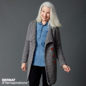 Big Collar Crochet Coat Easy Free Pattern