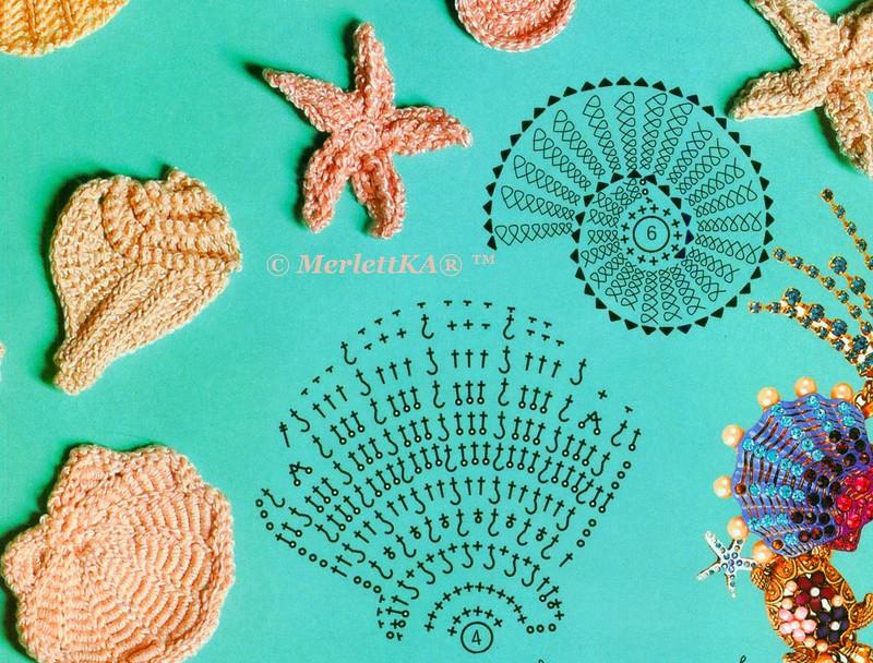 Crochet Sea Motifs Shells Starfish And Coral Crochet Kingdom
