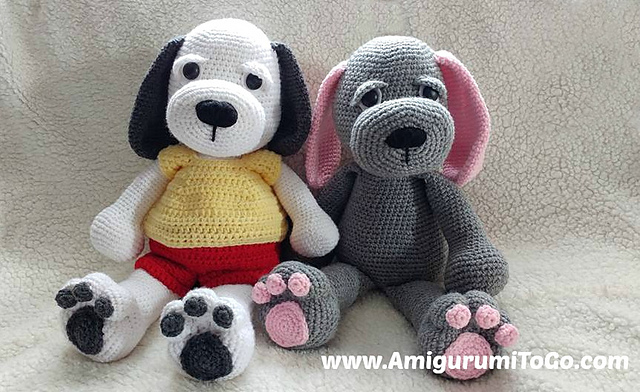 Cuddle Me Puppy Free Crochet Dog Pattern. Amigurumi dog crochet pattern with floppy ears.