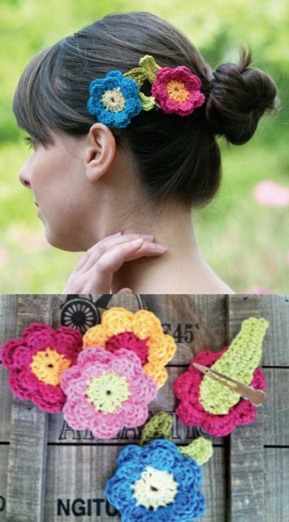 Flower Hair Clips Free Crochet Pattern. Easy to crochet flower clips that look beautiful, the perfect accessory for ladies and girls, make as many as you want in different colors.