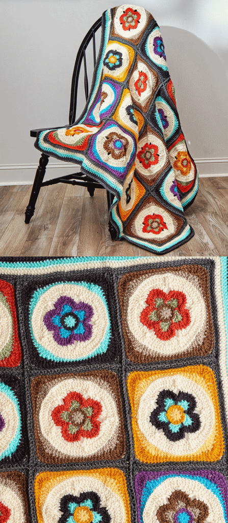 Flower Power Blanket Free Crochet Pattern