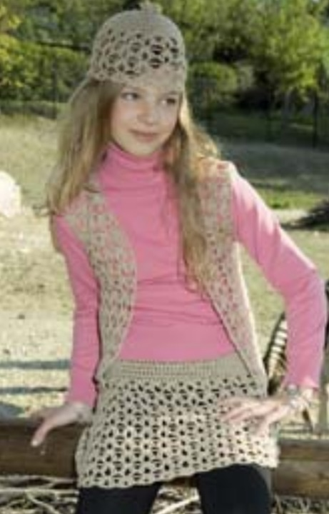 Free Crochet Vest, Skirt and Hat Pattern for Girls