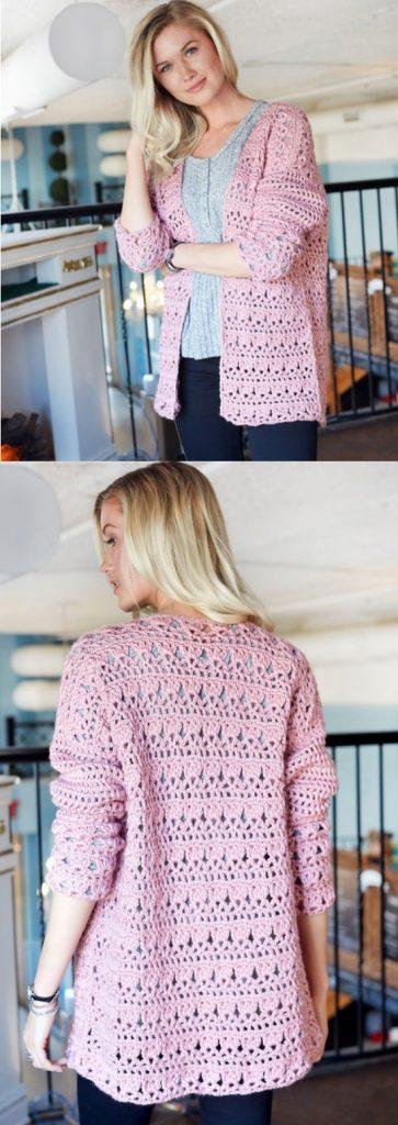 Open Front Comfy Cardigan Free Crochet Cardigan