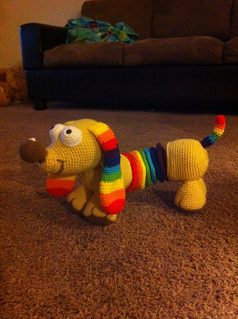 Rainbow Slinky Dog Free Crochet Amigurumi Dog Pattern