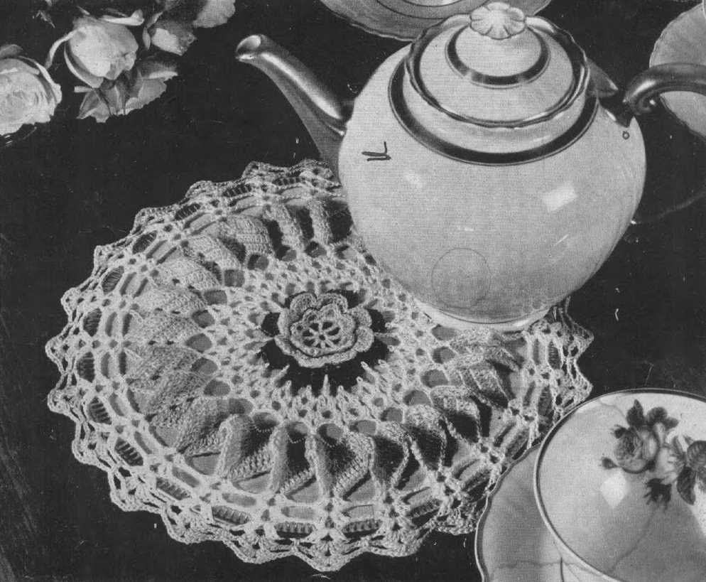 Rose Hot Plate Mat Cover Free Crochet Doily Pattern Vintage. Vintage doily crochet pattern.