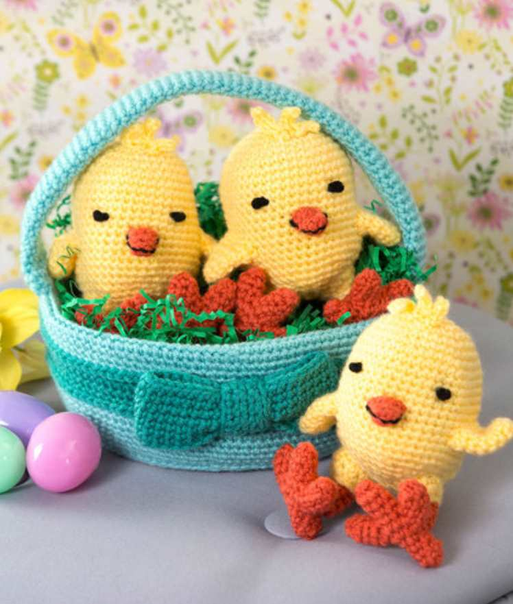 Three Chicks in a Basket Free Easter Crochet Pattern