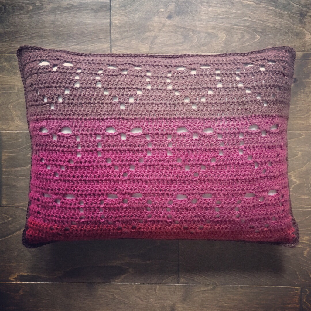 Cascading Hearts Pillow Free Crochet Pattern