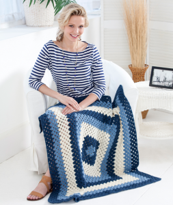 Crochet Granny Blues Lapghan Free Crochet Beginner Pattern for a Blanket