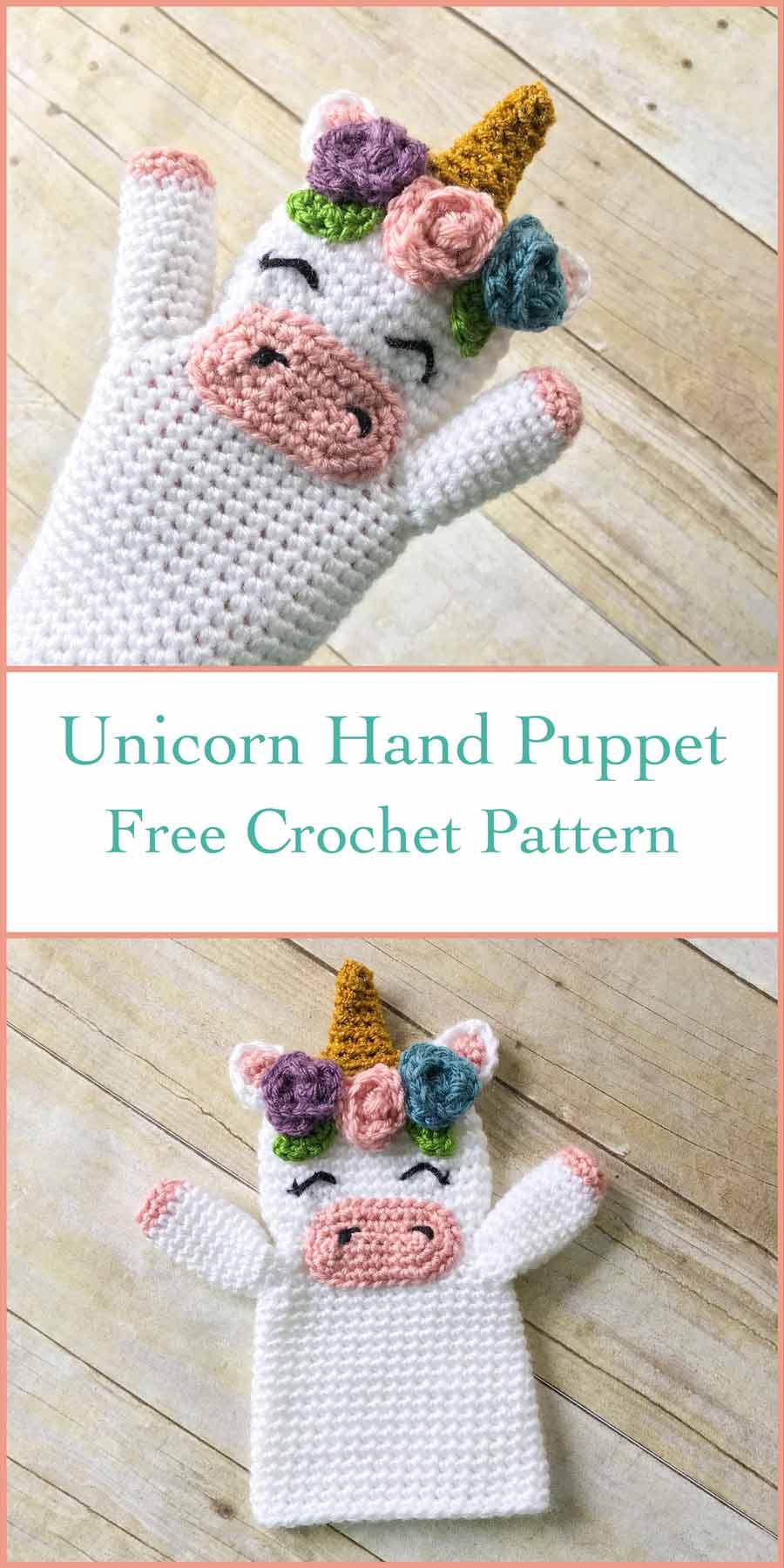 Crochet Unicorn Hand Puppet Free Crochet Pattern ⋆ Crochet Kingdom