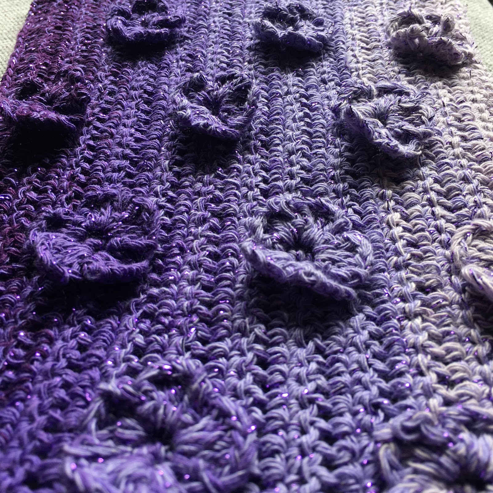 Enchanted Violets Scarf Wrap Free Crochet Pattern