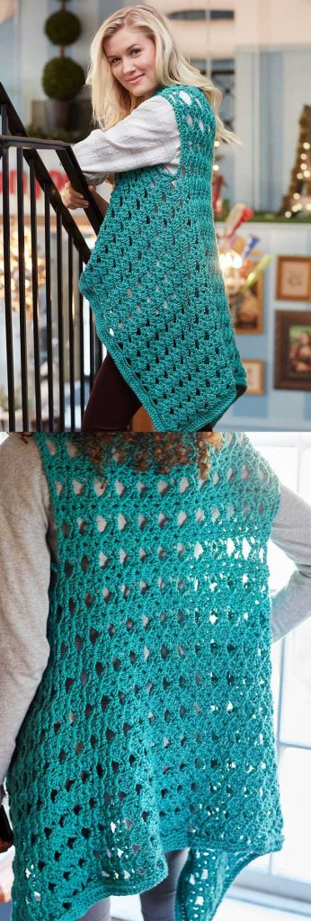 Free Crochet Pattern for a Cozy No Seam Vest.