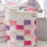 Free Crochet Pattern for a Crochet Fringe Basket