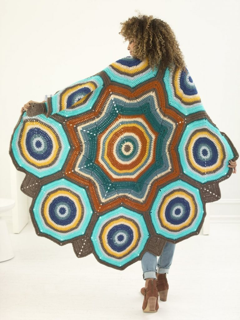 Free Crochet Pattern for a Star Mandala Afghan.