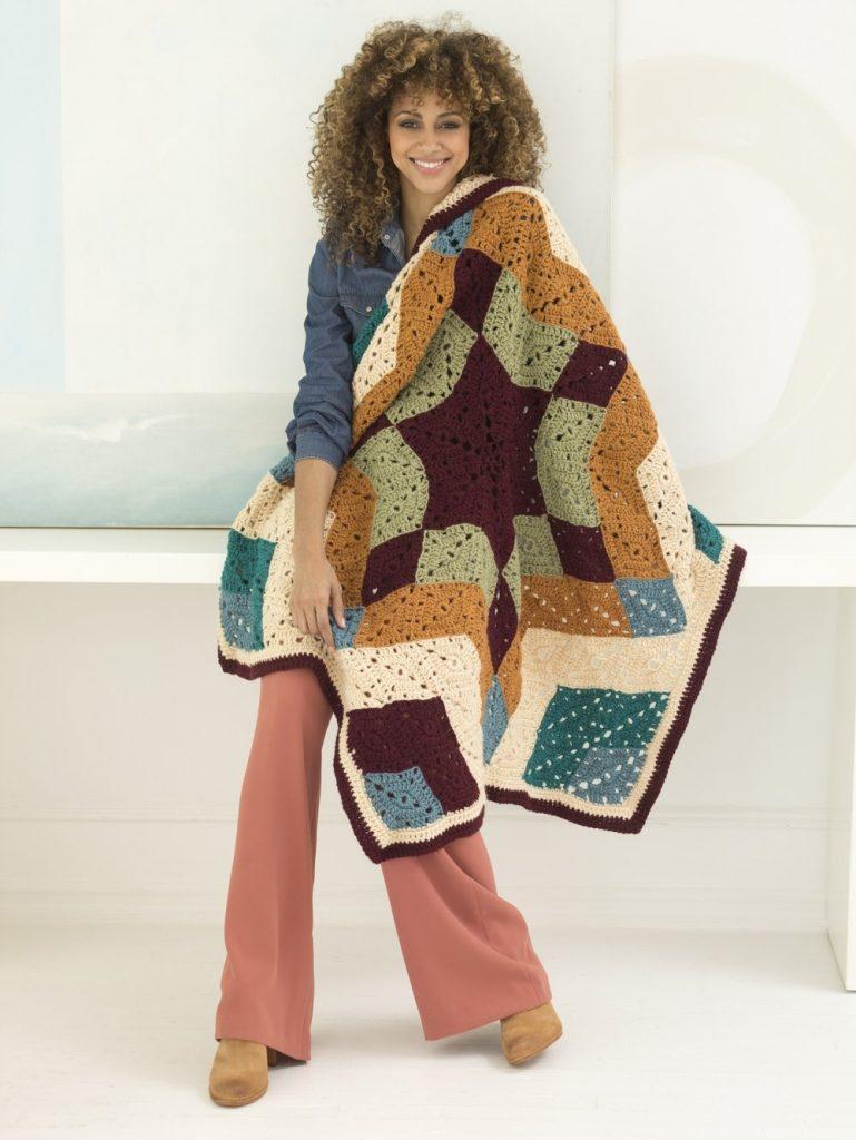 Free Crochet Pattern for an Ozark Star Mandala Afghan